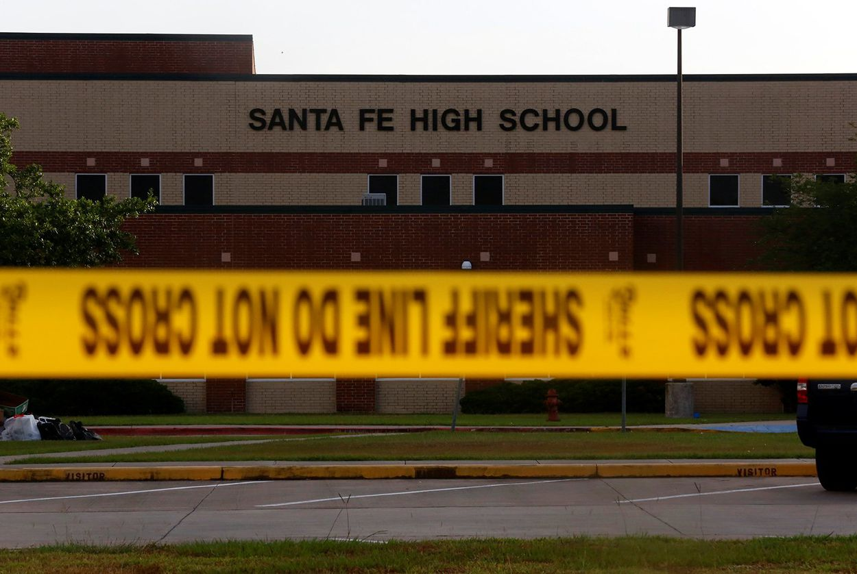 Police tape in front of Santa Fe High School in Santa Fe, Texas on May 20, 2018.