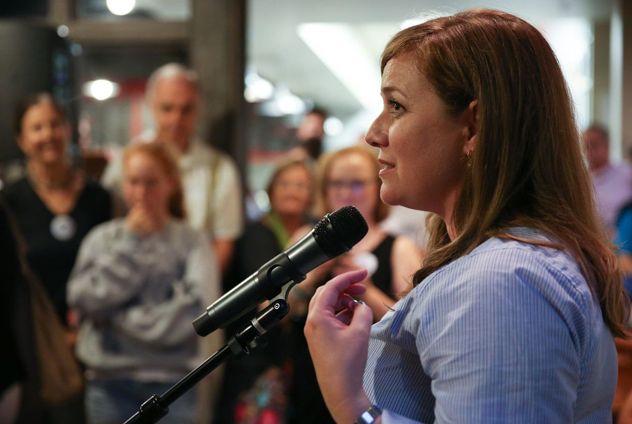 Lizzie Pannill Fletcher speaks to her supporters at her election party in Houston on May 22, 2018. Fletcher will face the Republican incumbent, U.S. Rep. John Culberson, in November