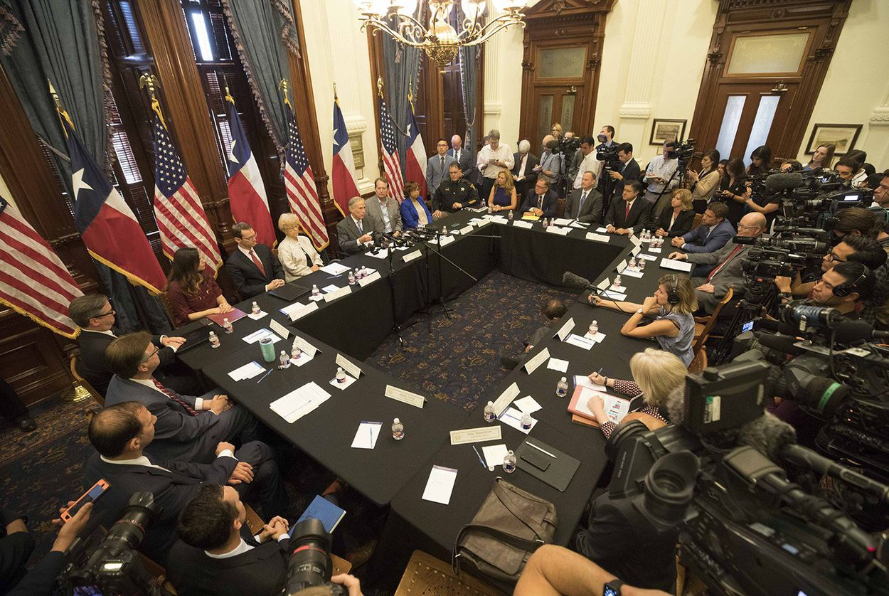 Texas Governor Greg Abbott convenes the second of three panels studying school safety and student mental health issues at the Texas Capitol in the wake of last week's Santa Fe High School shooting that left eight students and two teachers dead.