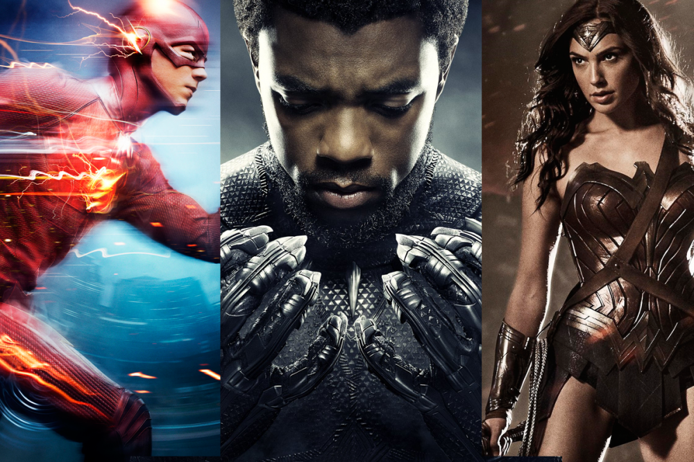 The Flash, Black Panther, and Wonder Woman