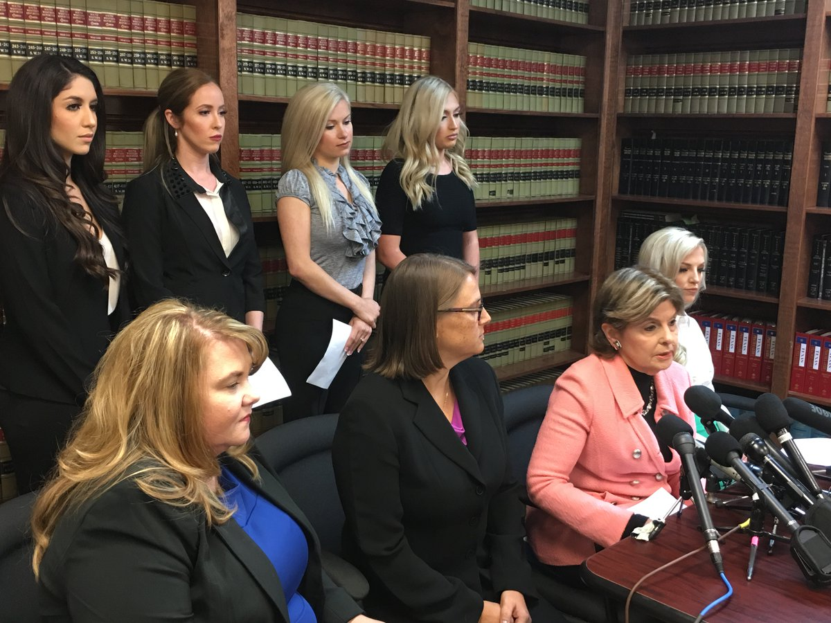Attorney Gloria Allred discusses the lawsuit on behalf of five former Houston Texans cheerleaders, Hannah Turnbow, Ainsley Parish, Morgan Wiederhold, Ashley Rodriguez and Kelly Neuner.