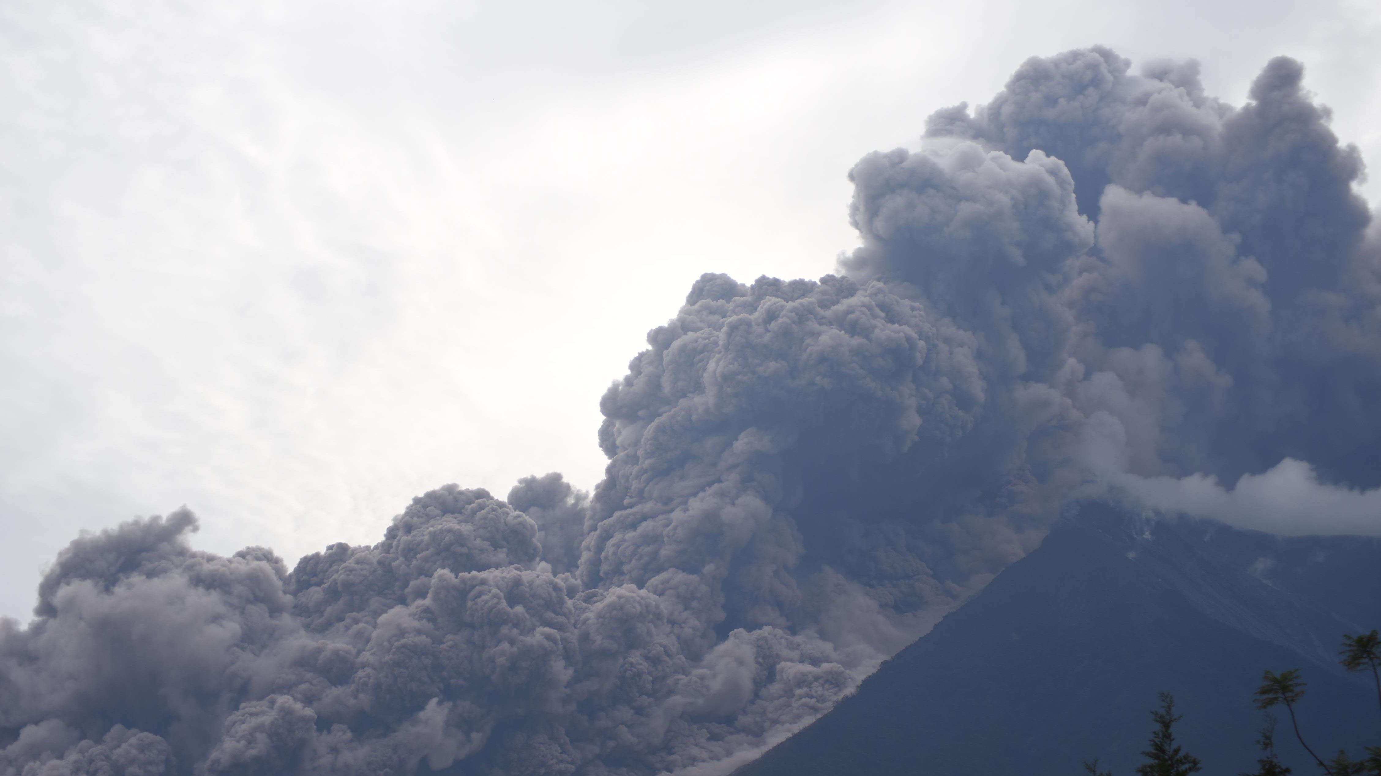 The Fuego Volcano in eruption, seen from Alotenango municipality, Sacatepequez department, about 40 miles southwest of Guatemala City.