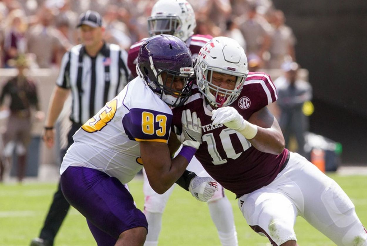 A football match between Texas A&M and Prairie View A&M on Saturday, Sept. 10, 2016. Texas A&M won 67-0. Prairie View got $450,000 for showing up.