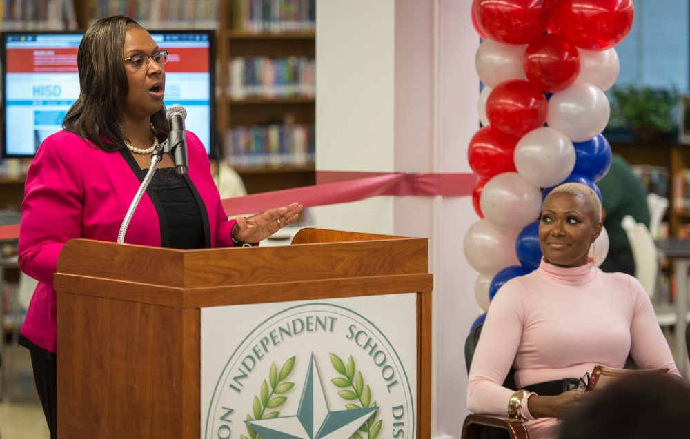 Grenita Lathan comments during a library dedication at Attucks Middle School, January 18, 2017.