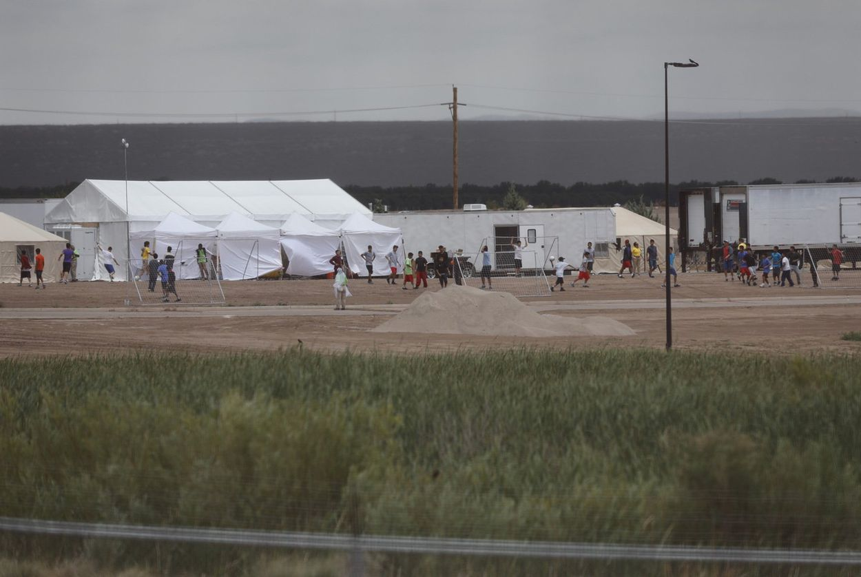 The tent city at Tornillo Land Point of Entry near El Paso on June 16, 2018. The facility was created to house immigrant children who were separated from their parents when they crossed the border.  Ivan Pierre Aguirre for The Texas Tribune