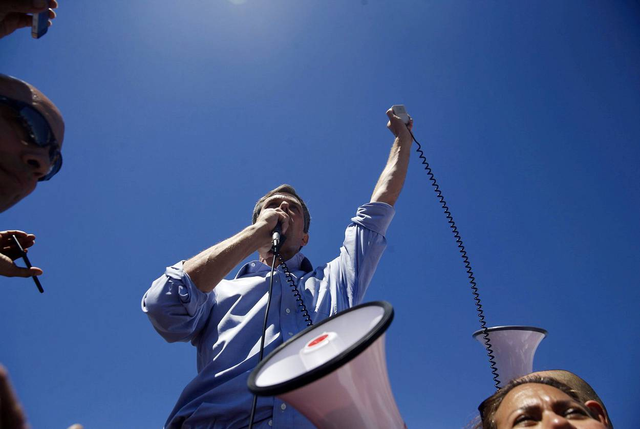 U.S. Rep. Beto O'Rourke, D-El Paso, speaks to the crowd marching on the tent city where children separated from their parents at the border are being held at Tornillo Land Point of Entry, on June 17, 2018.  Ivan Pierre Aguirre for The Texas Tribune