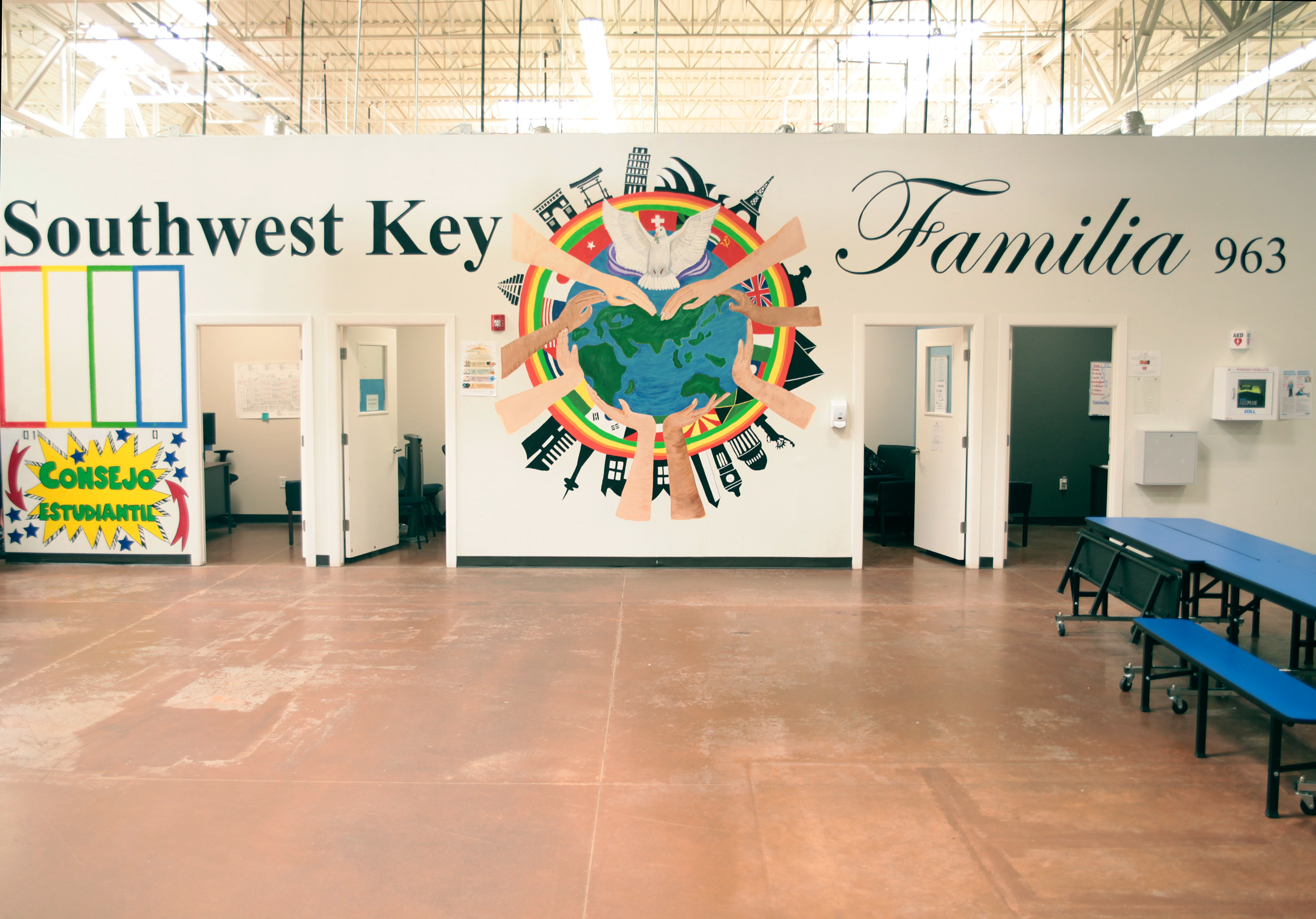 A Southwest Key child immigrant shelter in Brownsville, Texas, was shown to journalists on a tour earlier this month. This photo of the facility was released by government officials.