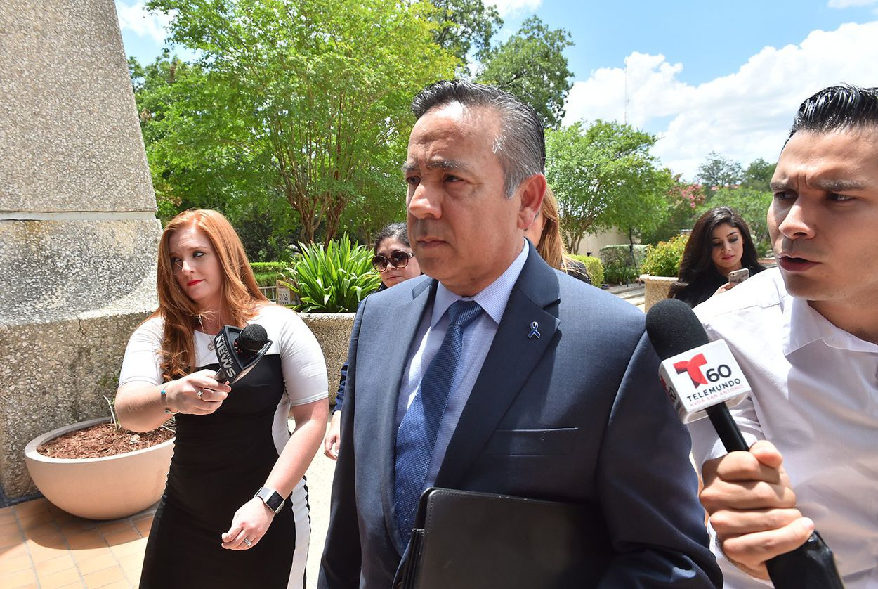 Former state Sen. Carlos Uresti, D-San Antonio, arrives at the federal courthouse in San Antonio on June 26, 2018.