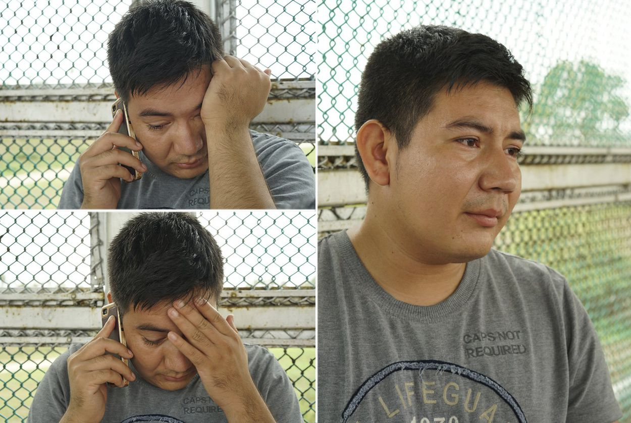 Marcos Samayoa learns that his wife is detained and has been separated from their children as he waits on the Brownsville/Gateway International Bridge on June 20, 2018.