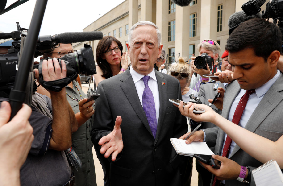 U.S. Defense Secretary Jim Mattis speaks to reporters at the Pentagon in Arlington, Virginia, on June 20, 2018.