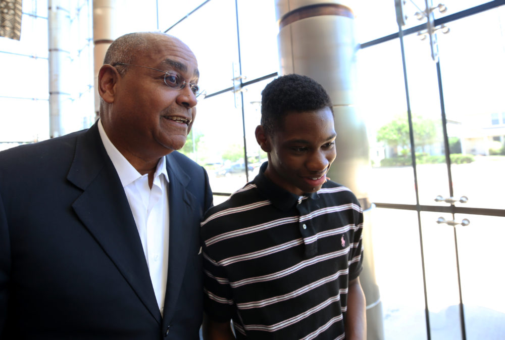 Harris County Commissioner Rodney Ellis, left, speaks with Worthing High School student Darius Hines, then a 15-year-old sophomore, before a tour at the Lincoln-Gregory School Museum on Thursday, May 25, 2017, in Houston. ( Godofredo A. Vasquez / Houston Chronicle )