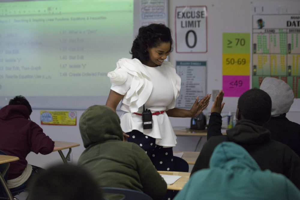 Worthing High School Principal Khalilah Campbell-Rhone high-fives a student during a visit to teacher Michael Judge's Algebra I classroom on Thursday, April 5, 2018, in Houston. ( Marie D. De Jesus / Houston Chronicle )