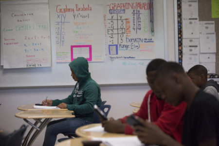 Worthing High School freshmen work in math teacher Michael Judge's Algebra I class on Thursday, April 5, 2018, in Houston. ( Marie D. De Jesus / Houston Chronicle )