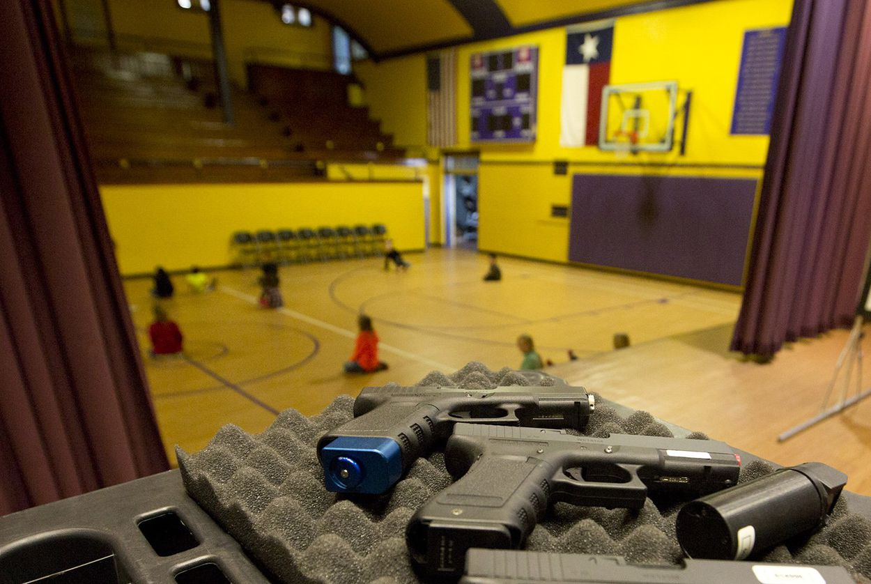 Mock weapons used to train educators in Harrold, Texas. The North Texas school district was the first to allow educators to carry guns on school grounds in 2007.