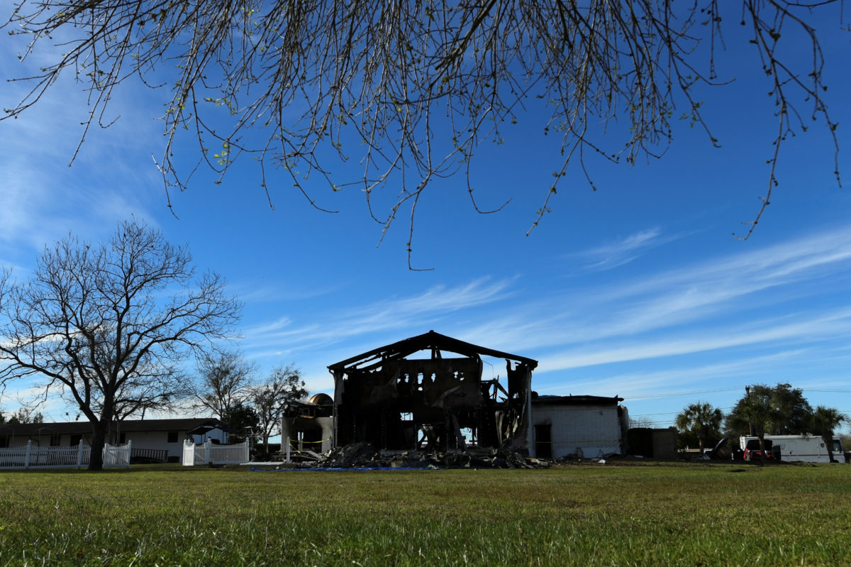 The structure of a mosque is seen one day after a fire at the Victoria Islamic Center inn Victoria, Texas.