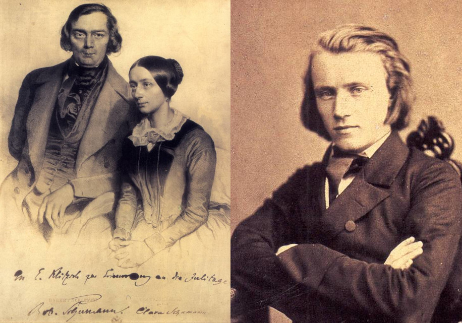 Composers Robert and Clara Schumann and Johannes Brahms