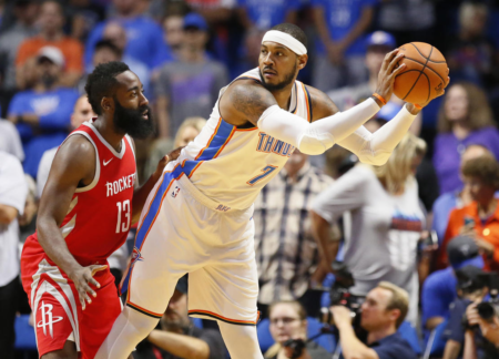 Carmelo Anthony vs James Harden - AP Photo