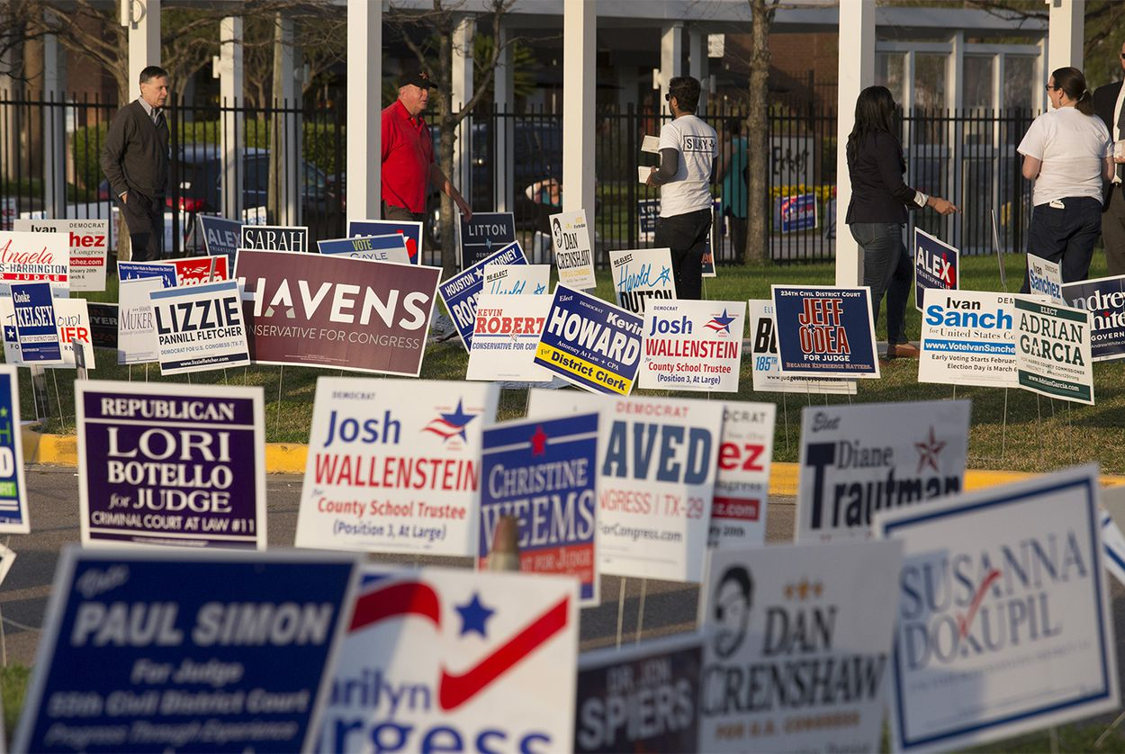 Voters arrive to the polls for the last hour of the primaries in Houston on Tuesday, March 6, 2018.