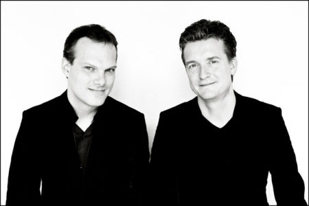Black and white photo of Lars Vogt and Christian Tetzlaff