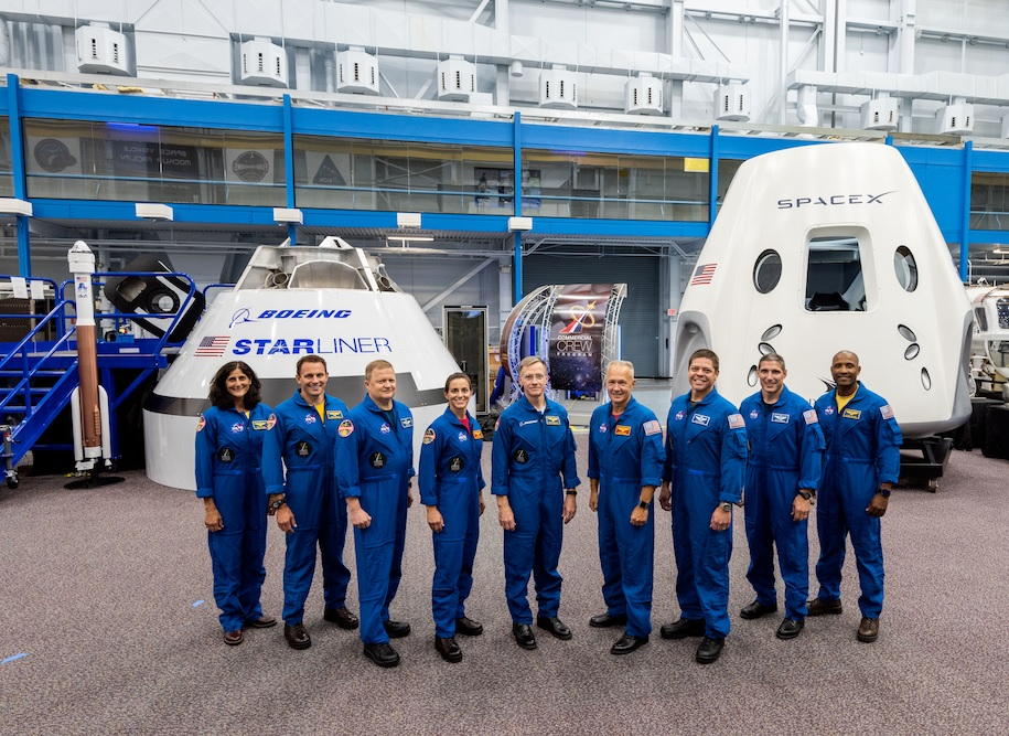 NASA introduced to the world on Aug. 3, 2018, the first U.S. astronauts who will fly on American-made, commercial spacecraft to and from the International Space Station – an endeavor that will return astronaut launches to U.S. soil for the first time since the space shuttle's retirement in 2011. The agency assigned nine astronauts to crew the first test flight and mission of both Boeing's CST-100 Starliner and SpaceX's Crew Dragon. The astronauts are, from left to right: Sunita Williams, Josh Cassada, Eric Boe, Nicole Mann, Christopher Ferguson, Douglas Hurley, Robert Behnken, Michael Hopkins and Victor Glover.
