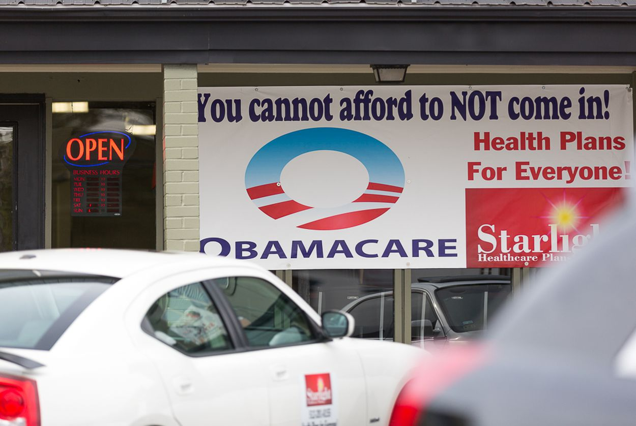 A sign advertising health insurance under the Affordable Care Act in east Austin in 2015.