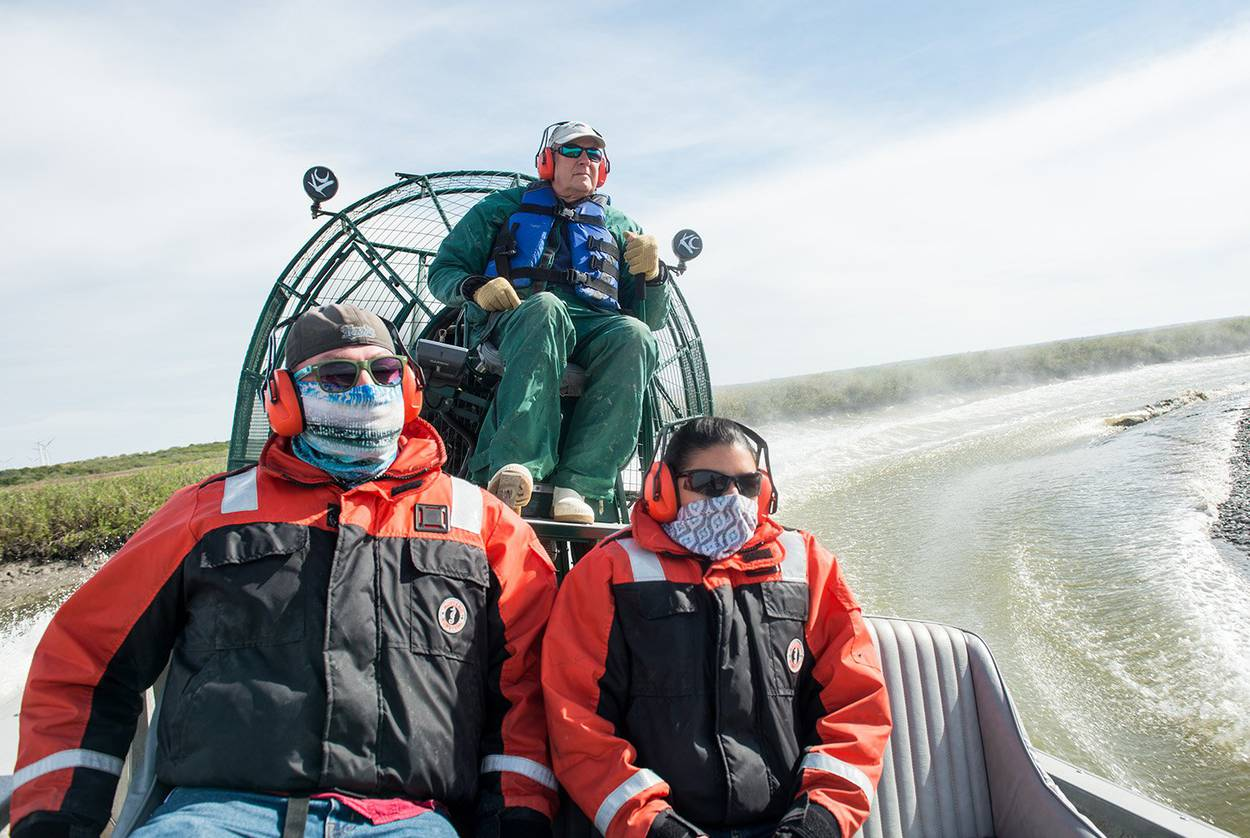 Researchers from the Harte Research Institute for Gulf of Mexico Studies travel by airboat to take water samples of the Nueces River near Corpus Christi.