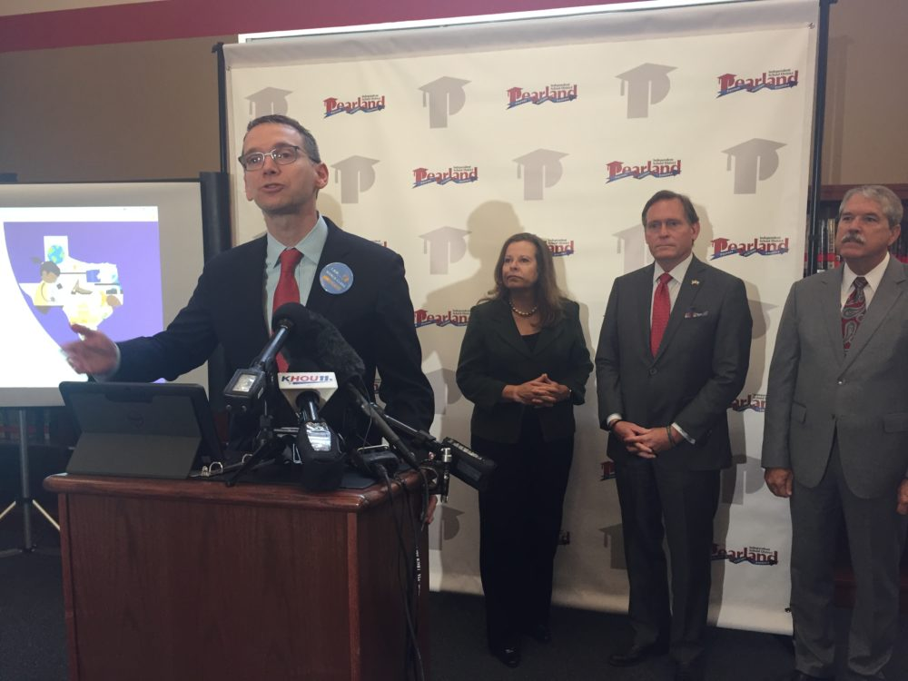 Texas' Education Commissioner Mike Morath highlighted Pearland ISD as a district to learn from during a visit Wednesday. Pearland ISD earned an A grade from the state.