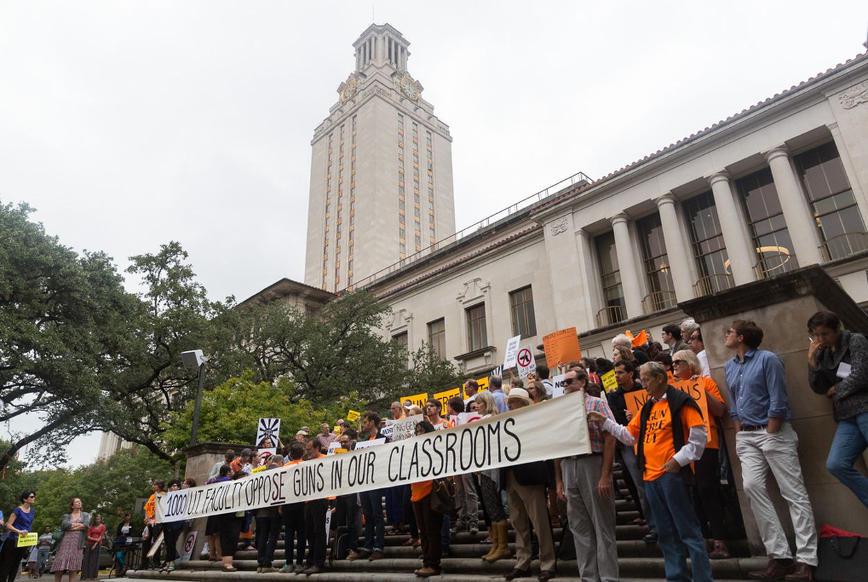 University of Texas at Austin faculty and students protest Texas' recently passed campus carry law on Nov. 10, 2015.