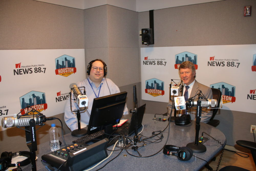 Houston Matters host Craig Cohen (left) and Harris County Judge Ed Emmett (right) moments before the interview they did on August 24, 2018.