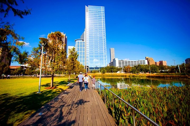 This photo shows Discovery Green. The GQ article talks about it as one of the amenities that are helping to make Houston the new capital of Southern cool.