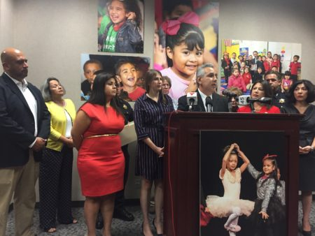 HISD Trustee Sergio Lira joined other Latino school leaders at a press conference on Sept. 6, 2018 to urge Hispanic families to enroll their children in school.