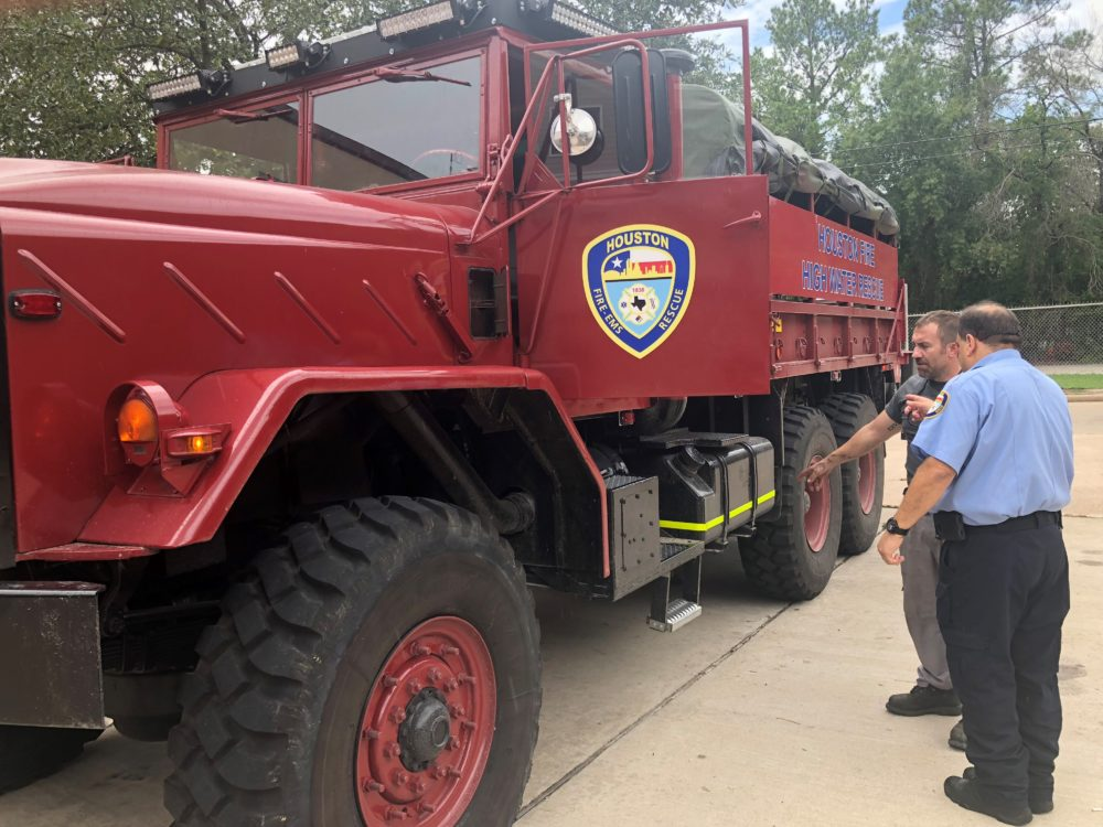 Houston Station house 78 inspects their new rescue vehicle before taking it out to train firefighters on operational techniques and preparation to be deployed in the Houston area.