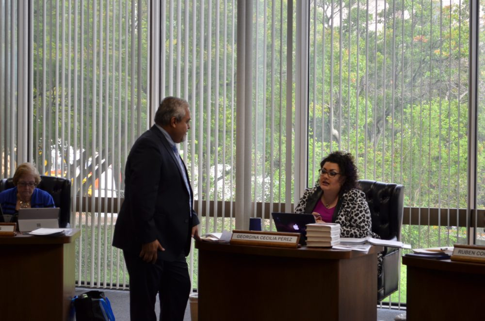 State Board of Education members Ruben Cortez, Jr. D-Brownsville (left) and Georgina Pérez (D-El Paso) have been very involved in establishing the Mexican American Studies course.