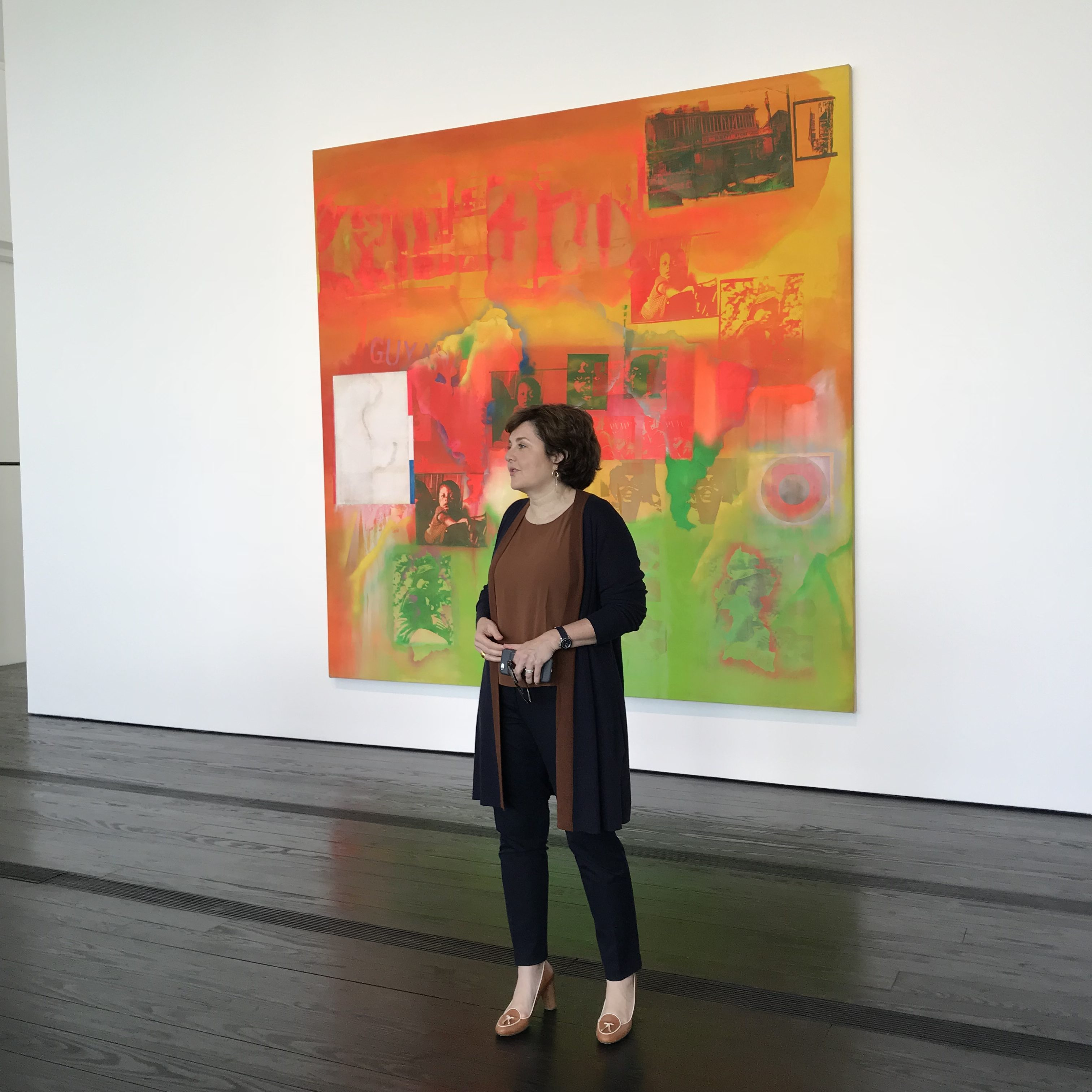 Menil Collection director Rebecca Rabinow with Frank Bowling's Middle Passage.
