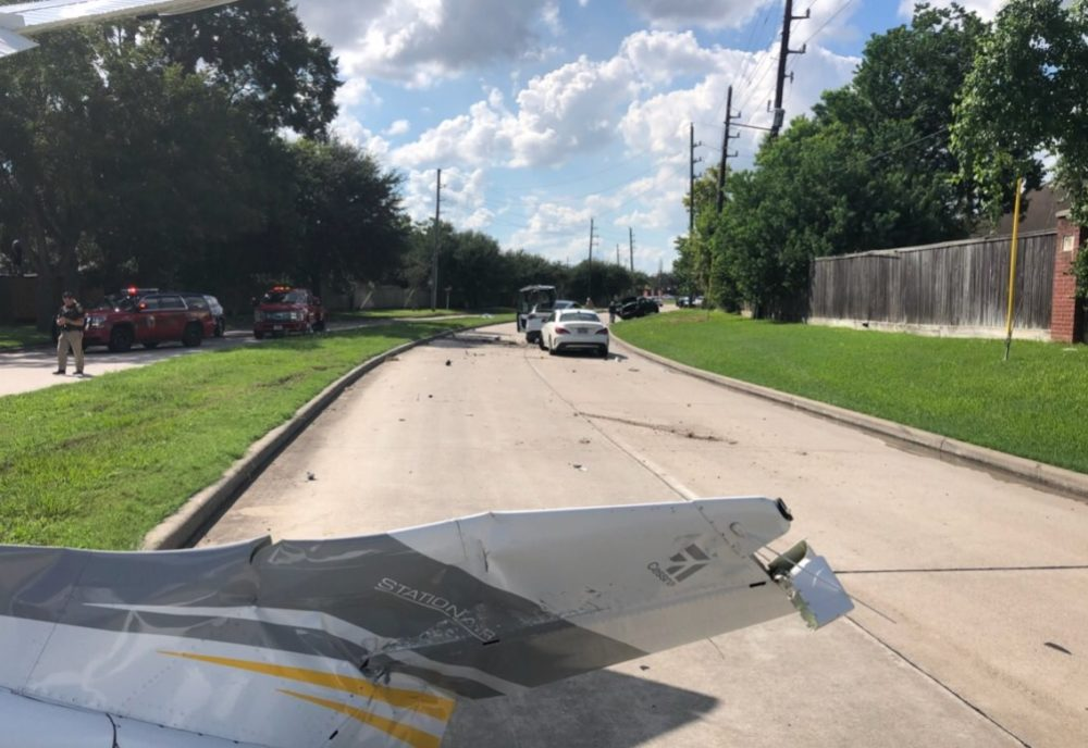 A small plane operated by the Drug Enforcement Administration (DEA) crashed on a street in the Sugar Land area Wednesday afternoon.