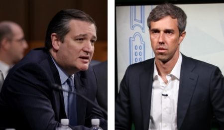 Photo of Cruz: J. Scott Applewhite/AP / Photo of O'Rourke: Al Ortiz/Houston Public Media