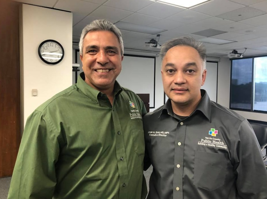 Dr. Umair Shah, executive director of Harris County Public Health (right),is asking the public to try toreduce mosquito-breeding sites.