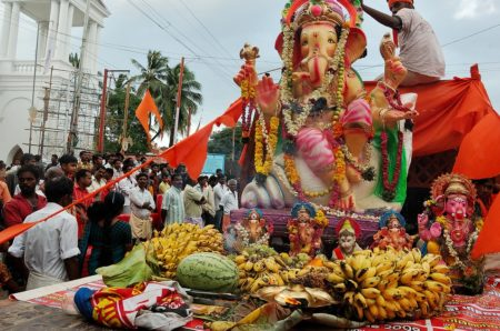 In Hinduism, Ganesh Chaturthi --or Ganesha Chaturthi-- is an aspect of the divine depicted with the head of an elephant.