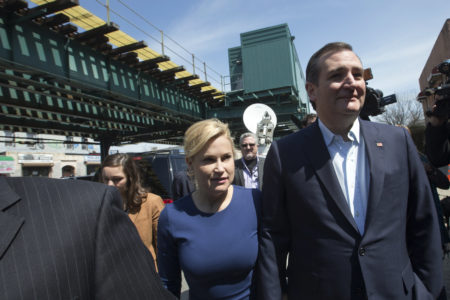 Republican presidential candidate, Sen. Ted Cruz, R-Texas, and his wife Heidi, arrive for a meeting with community leaders at the Sabrosura 2 restaurant in the Bronx borough of New York, Wednesday, April 6, 2016. (AP Photo/Mary Altaffer)