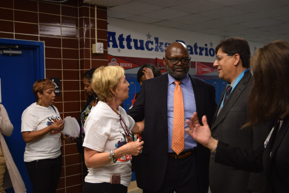 Stephen L. Williams, director of the City of Houston's Health Department (center), attended a Sept. 25 event held at Attucks Middle School to launch the Law Enforcement Assisted Diversion (LEAD) initiative.