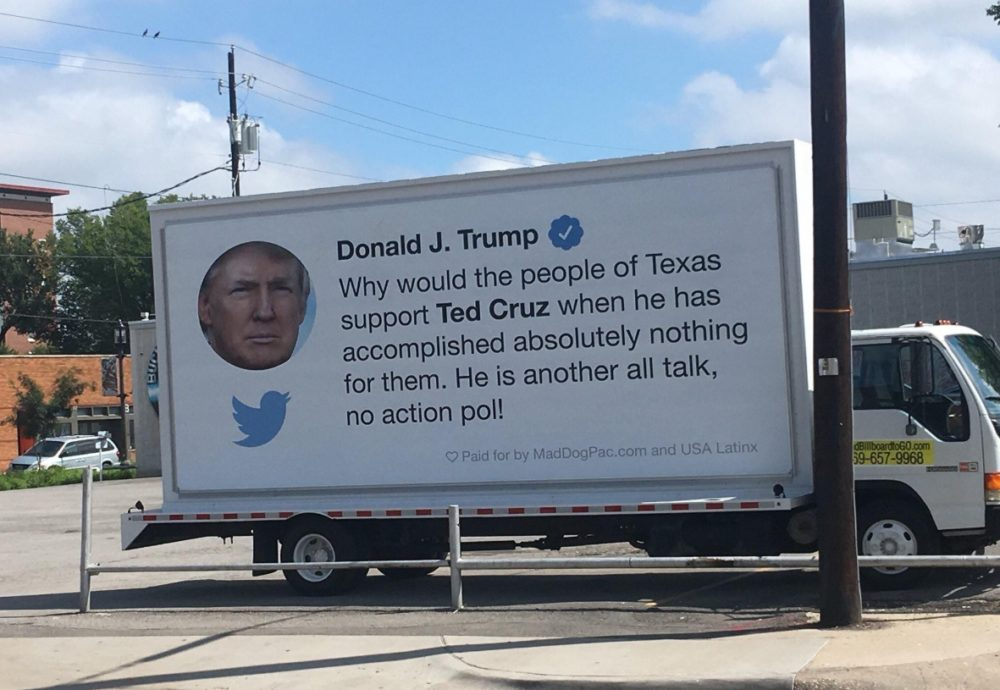 "The ""Trump Tweet Truck"" displays a tweet of then presidential candidate Donald Trump criticizing Republican Senator Ted Cruz during the 2016 campaign."