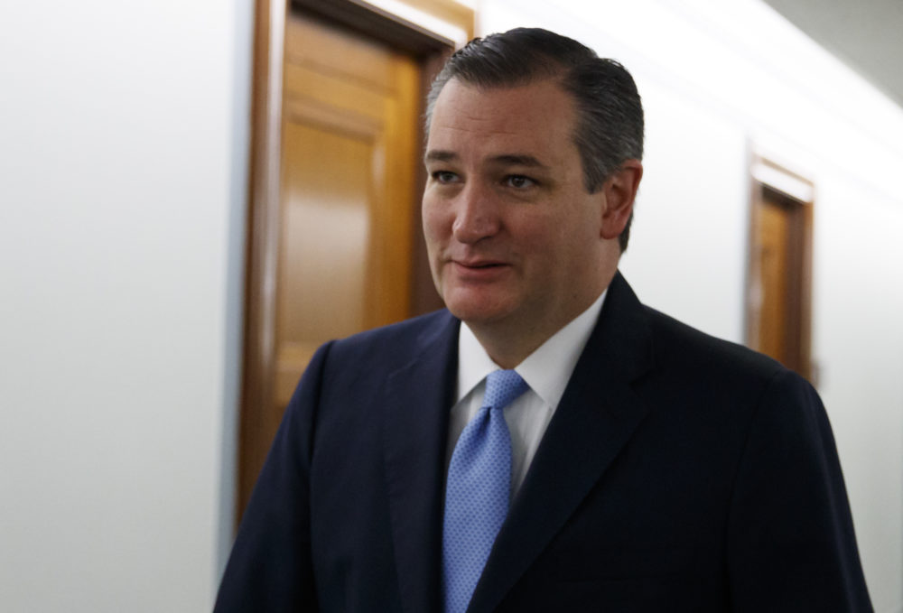 Sen. Ted Cruz, R-Texas, arrives for the Senate Judiciary Committee hearing on Capitol Hill in Washington, Thursday, Sept. 27, 2018, with Christine Blasey Ford and Supreme Court nominee Brett Kavanaugh. (AP Photo/Carolyn Kaster)