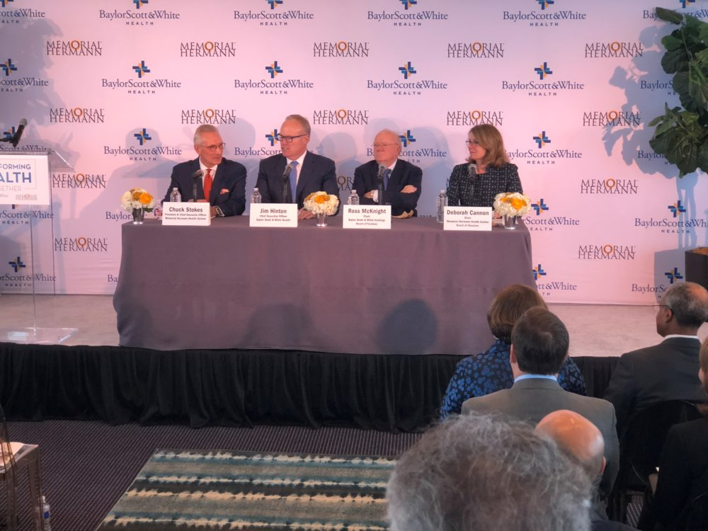 From left to right: Chuck Stokes, president and CEO of Memorial Hermann; Jim Hinton, CEO of Baylor Scott & White Health; Ross Mcknight, chair of Baylor Scott & White Holdings Board of Trustees; and Deborah Cannon, chair of the Memorial Hermann Health System Board of Directors, during a press conference held in Houston on Oct. 1, 2018, to announce the merger.