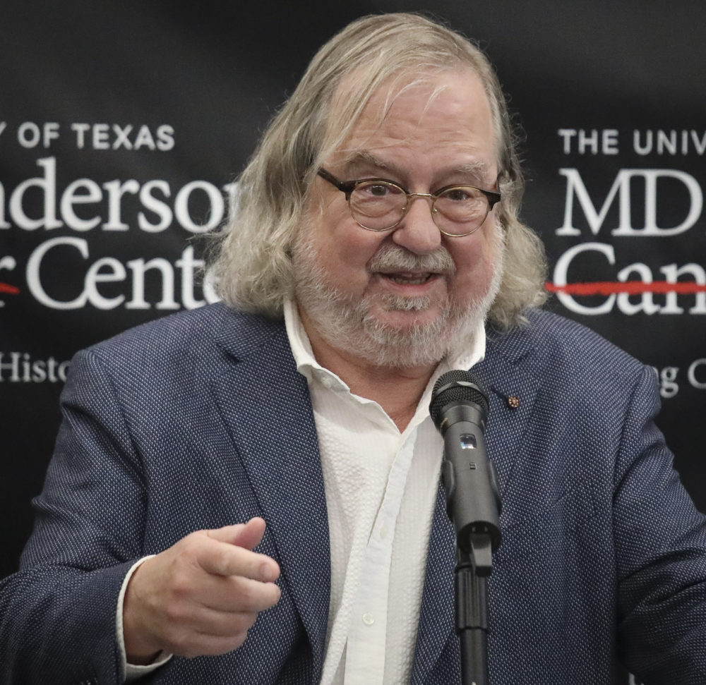 Dr. James P. Allison, the 2018 Nobel Prize winner for Medicine, speaks during a press conference, Monday Oct. 1, 2018, in New York. (AP Photo/Bebeto Matthews)