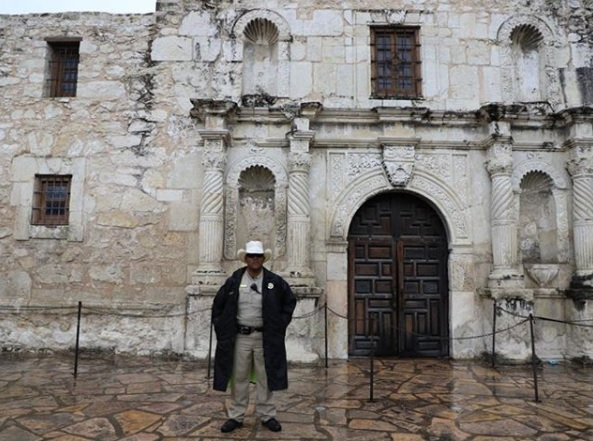 An Alamo Ranger stands guarding one of Texas' most important landmarks.