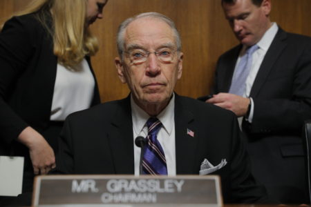 Senate Judiciary Committee Chairman Chuck Grassley, R-Iowa, looks on during a break in a confirmation hearing of the Senate Judiciary Committee, Thursday, Sept. 27, 2018 on Capitol Hill in Washington, during Christine Blasey Ford's testimony. (Jim Bourg/Pool Image via AP)