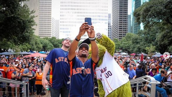 The Houston Astros held a postseason pep rally at City Hall on Oct. 3, 2018.