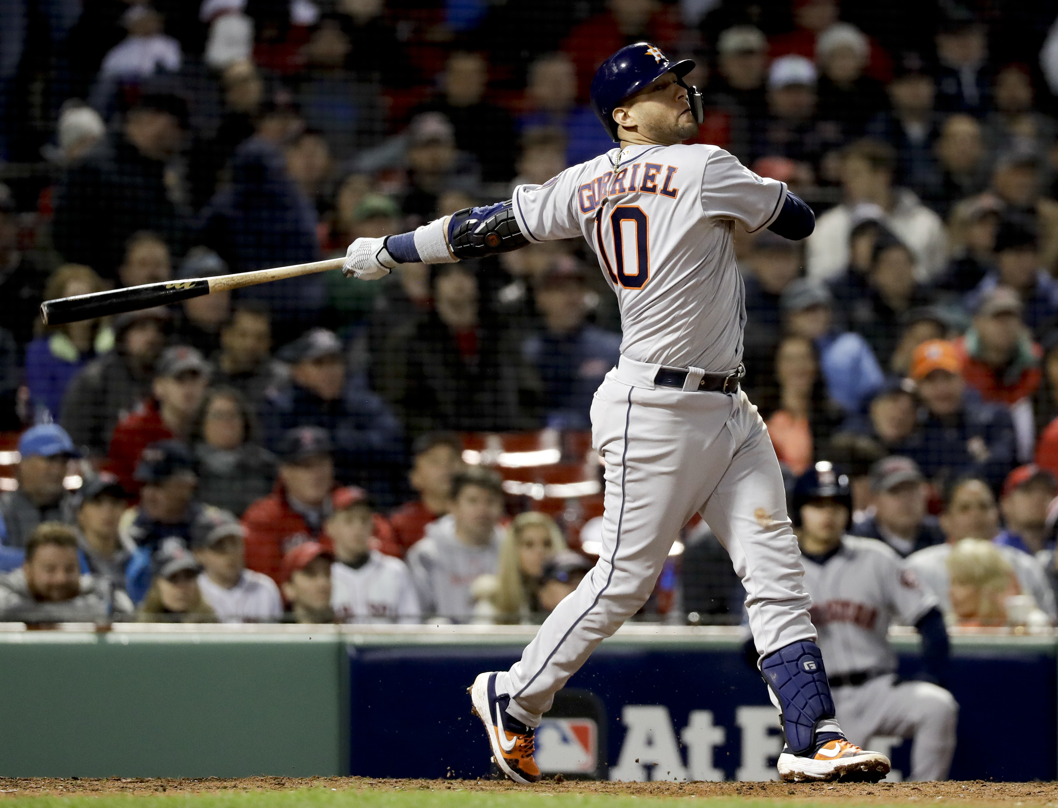 Yuli Gurriel watches his three-run home run against the Boston Red Sox during Game 1 of the ALCS.