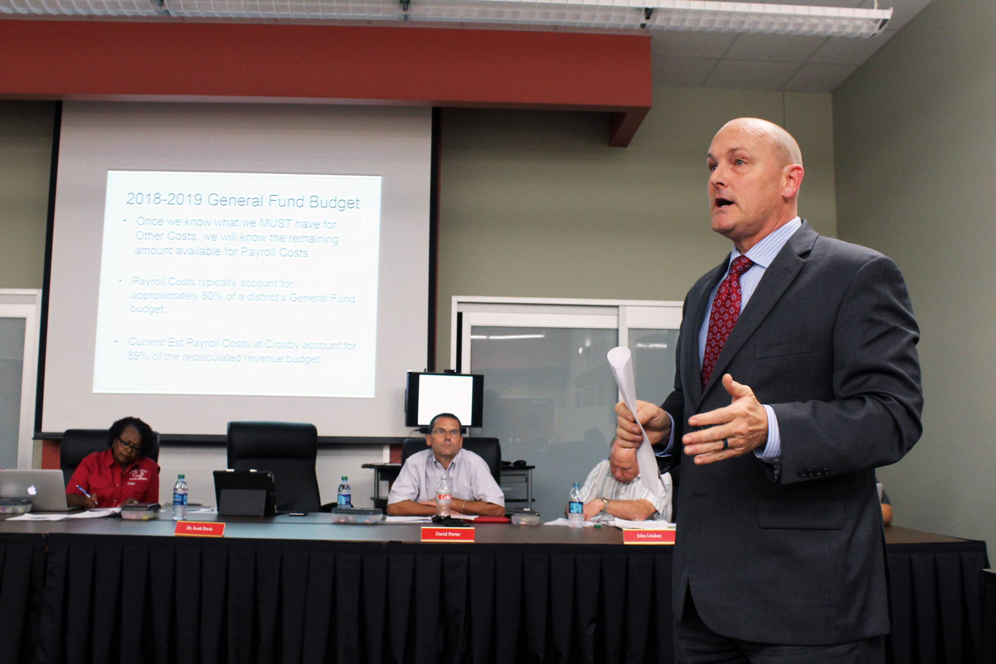 Crosby ISD superintendent Scott Davis on Sept. 17 tells the board that the only to save the district from a financial crisis is to start laying off employees.