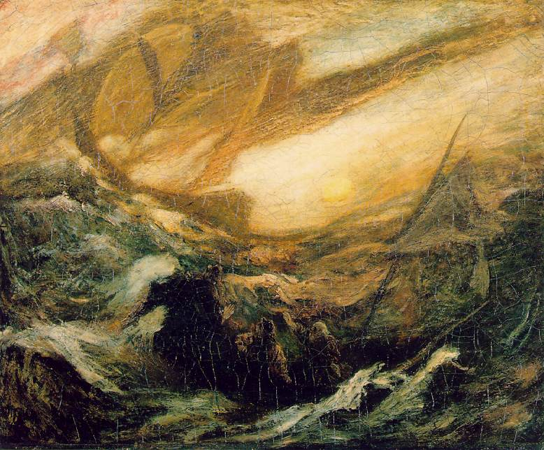 Oil painting with figures in a boat overcome by the ghostly silhouette of a ship.